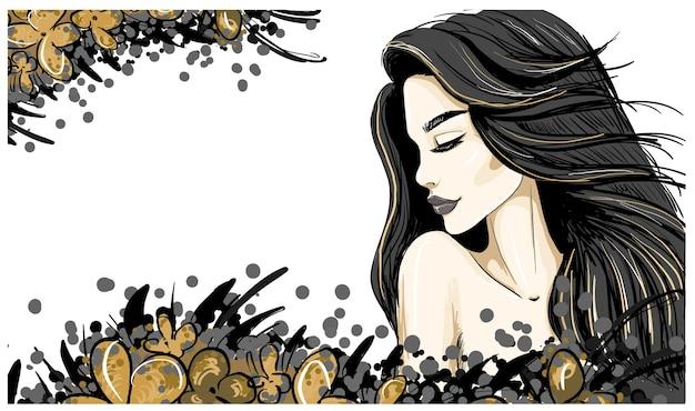 黒髪と唇の女性プロフィールテンプレートイラスト