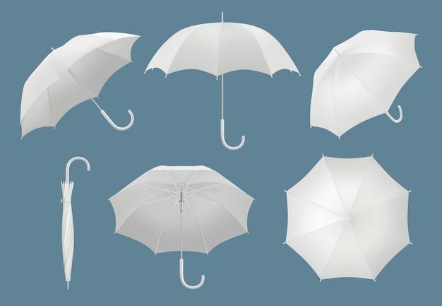 빈 3d 우산입니다. 방수 보호된 비 우산 벡터 현실적인 템플릿입니다. 악천후 삽화를 위한 손잡이가 있는 현실적인 우산