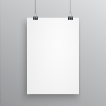 Blank a4 page hanged with paper clips on white background