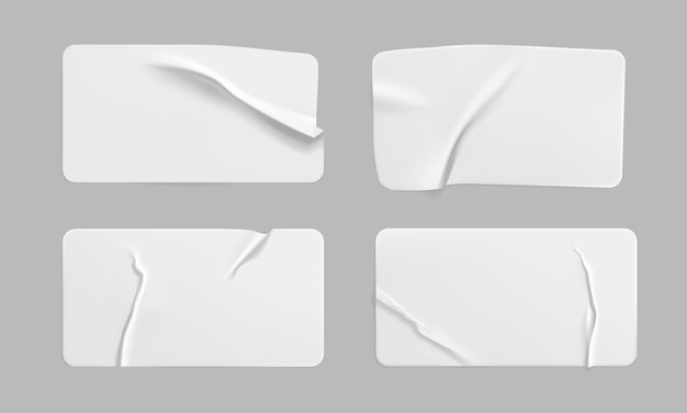 Пустые клейкие морщинистые бумажные наклейки