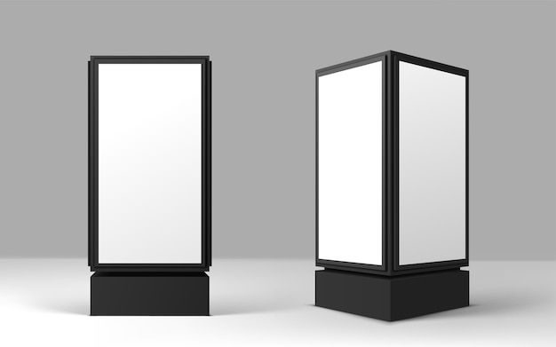Blank advertisement lightbox on gray background. vertical street poster billboard .  realistic