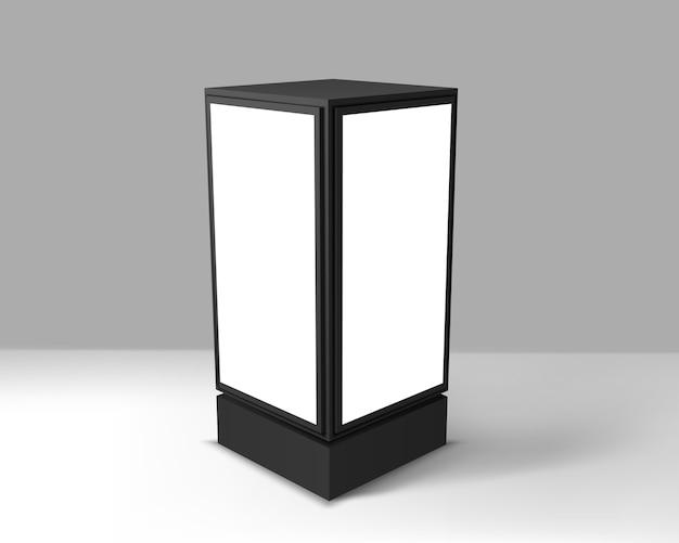 灰色の背景に空白の広告ライトボックス。縦型ストリートポスター看板。現実的