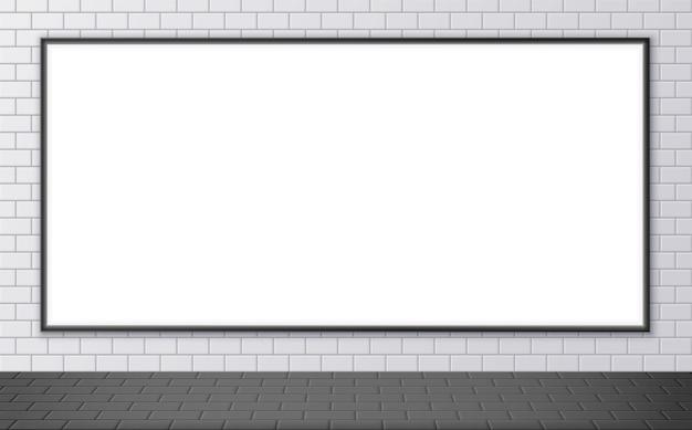 Макет пустой рекламный щит на станции метро. горизонтальный плакат на стене улицы. текстура напольной керамической плитки. векторная иллюстрация
