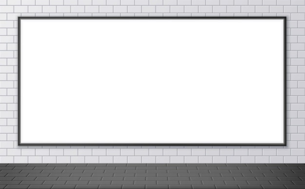Blank advertising billboard mockup on a subway station. horizontal poster on a street wall. outdoor ceramic tile texture. vector illustration