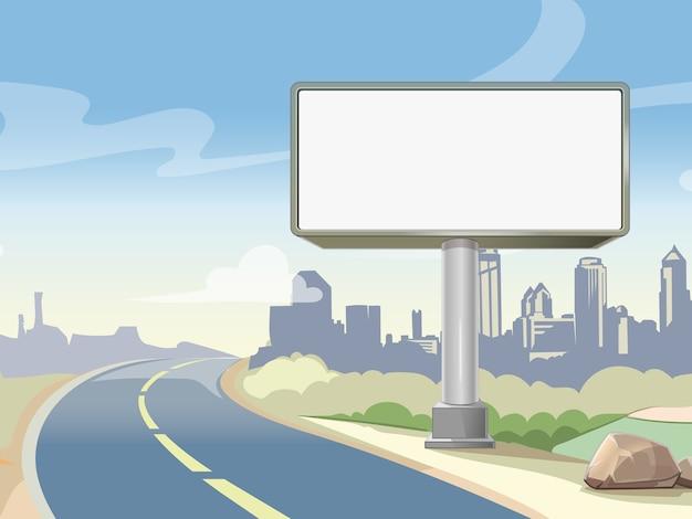 Tabellone per le affissioni della strada principale di pubblicità in bianco e paesaggio urbano. pubblicità commerciale all'aperto, poster di bordo. illustrazione vettoriale