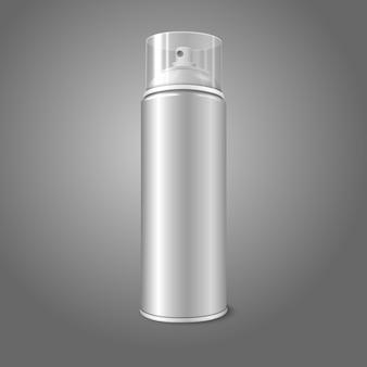 透明なキャップ付きの空のエアゾールスプレー金属ボトル缶。塗料、落書き、消臭剤、泡、化粧品などに。