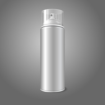 Blank  aerosol spray metal bottle can with transparent cap. for paint, graffiti, deodorant, foam, cosmetics etc.