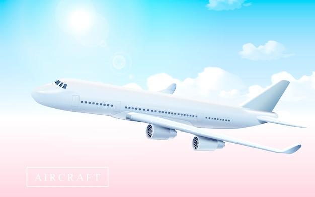 イラストの光沢のある空を飛んでいる空白の航空機モデル