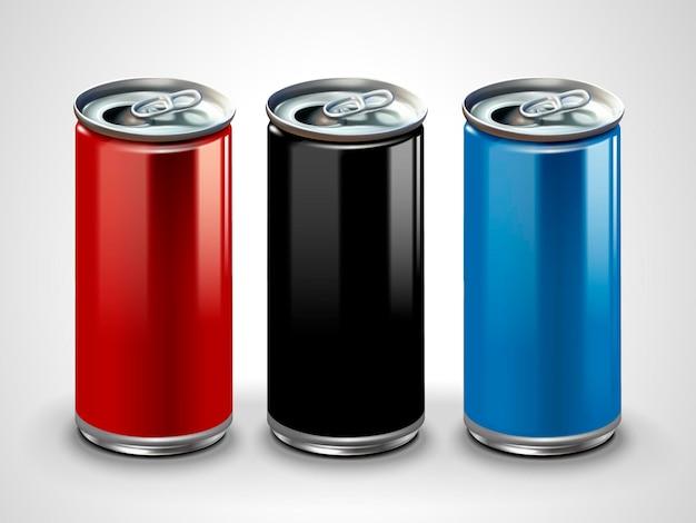 Blank aluminum , three metallic cans  in 3d illustration