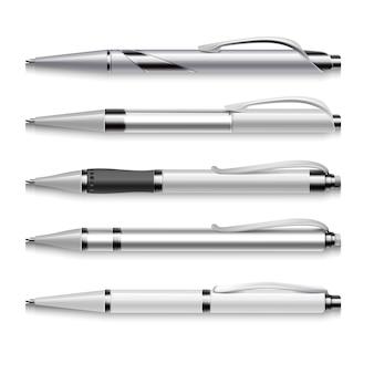 흰색 바탕에 빈 및 금속 벡터 펜 템플릿. 자동 펜 세트, 일러스트