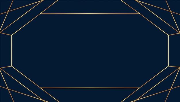 Пустая рамка арт-деко в стиле золотых линий