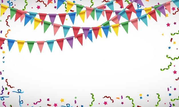 カラフルなパーティーフラグと紙吹雪の空白の背景