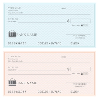 Blank bank checks or cheque book, vector illustration.