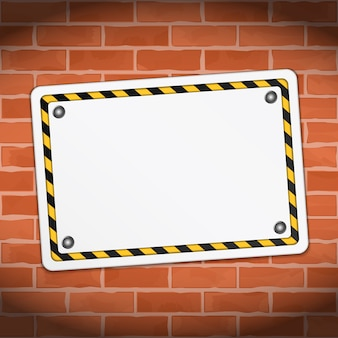 Blank banner on brick wall, vector eps10 illustration
