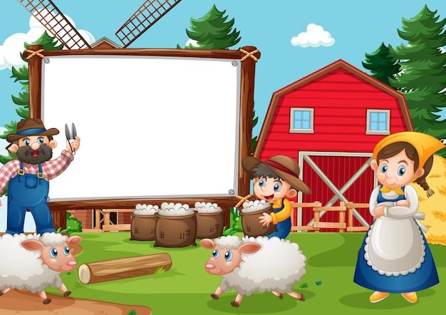 Bandiera in bianco nella scena dell'azienda agricola con la famiglia felice