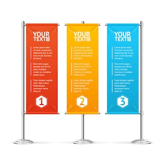 Blank banner flags colorful set with text.