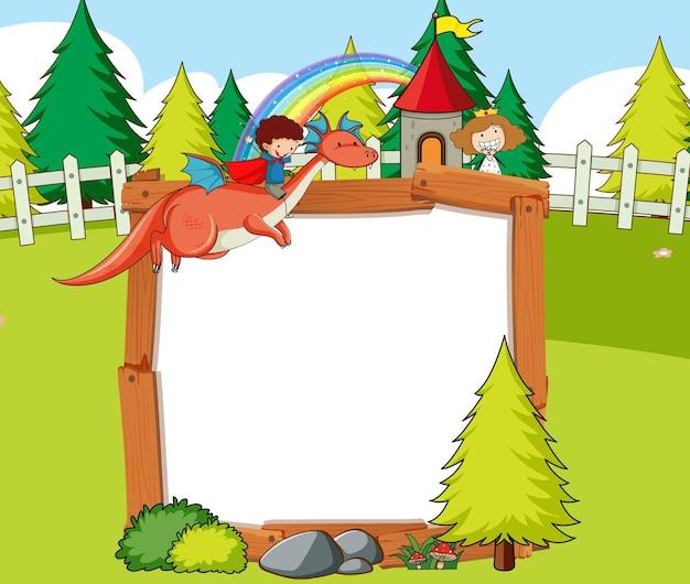 Banner vuoto nella scena della foresta con personaggi ed elementi dei cartoni animati di fiabe
