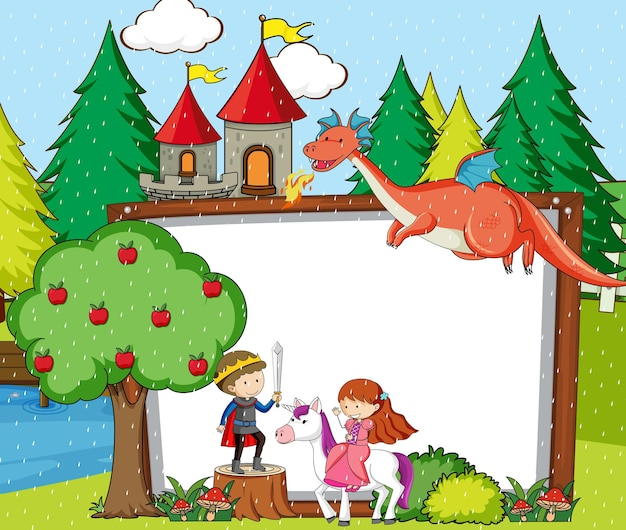Blank banner in the forest scene with fairy tales cartoon character and elements