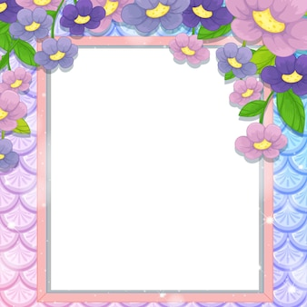 Blank banner frame on rainbow fish scales with many flowers