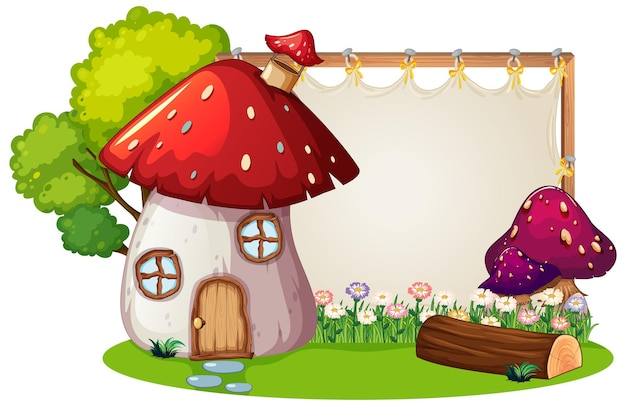Blank banner in the garden with mushroom house isolated