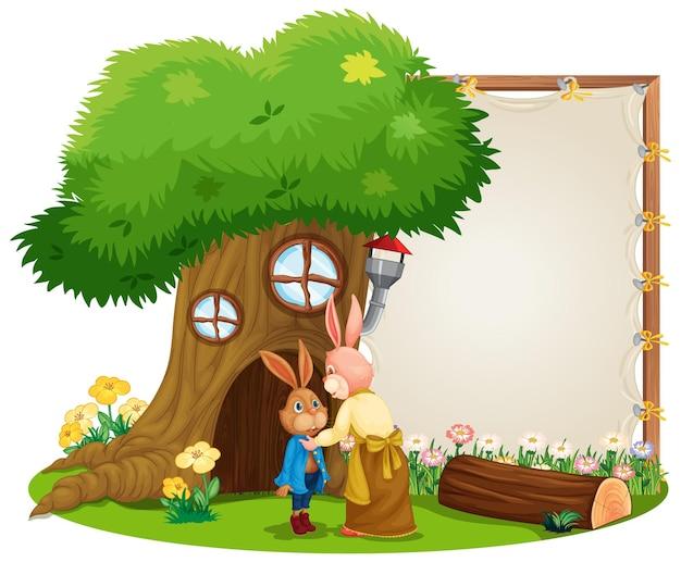 고립 된 귀여운 토끼 정원에서 빈 배너