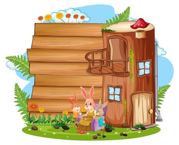 Пустой баннер в саду с изолированными милыми кроликами