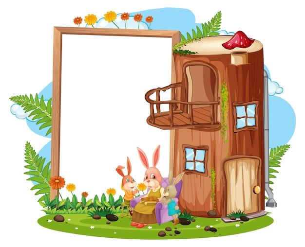 고립 된 토끼 가족과 정원에서 빈 배너