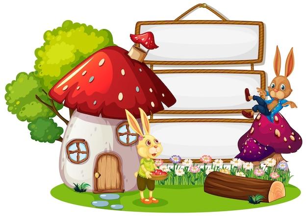 Пустой баннер в саду с двумя изолированными кроликами