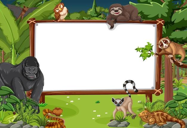 야생 동물과 열대 우림 장면에서 빈 배너