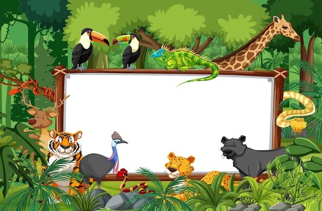 야생 동물이 있는 열대우림 현장의 빈 배너