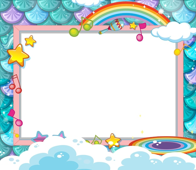 Blank banner on mermaid scales background