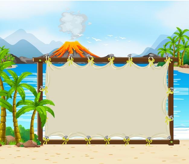 Пустой баннер на фоне доисторической сцены