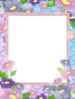 Banner bianco su sfondo di squame di pesce arcobaleno con molti fiori