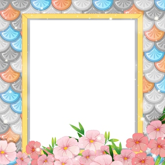 Blank banner on rainbow fish scales seamless pattern with many flowers