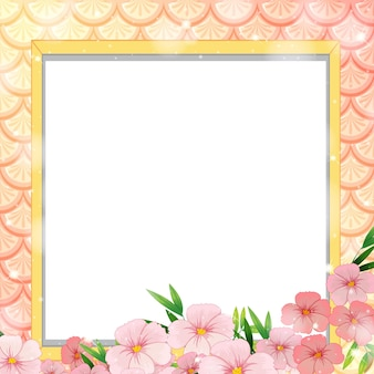 Blank banner on rainbow fish scales with many flowers