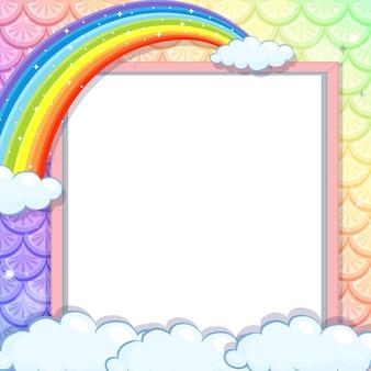 Banner in bianco su squame di pesce arcobaleno con arcobaleno