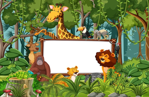 Blank banner in the rainforest scene with wild animals