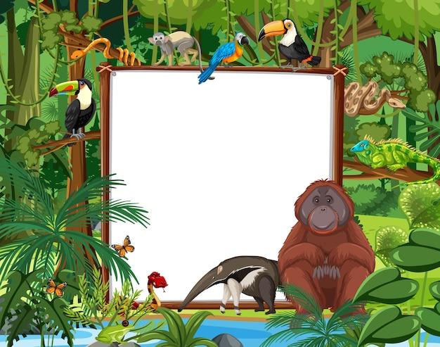 Banner vuoto nella scena della foresta pluviale con animali selvatici