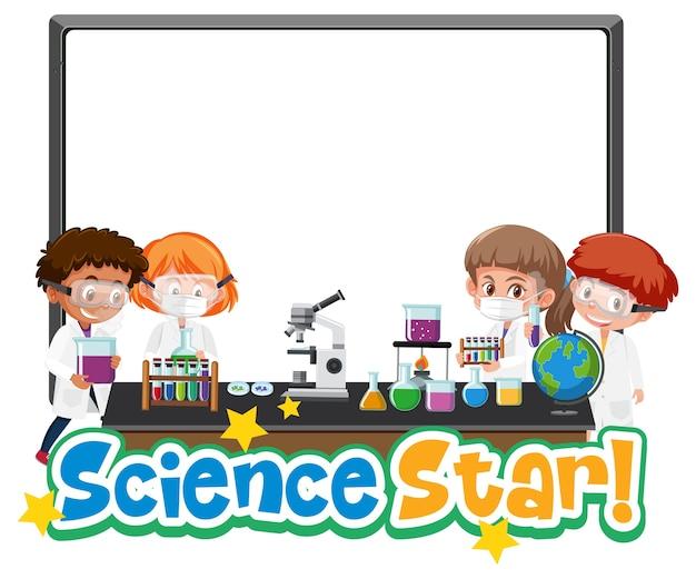 Blank banner science star logo with kid holding experimental science object isolated on white