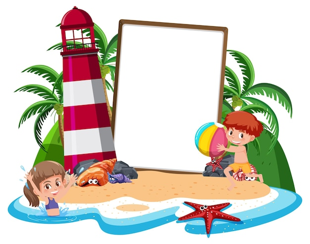 Blank banner template on the island with lighthouse isolated