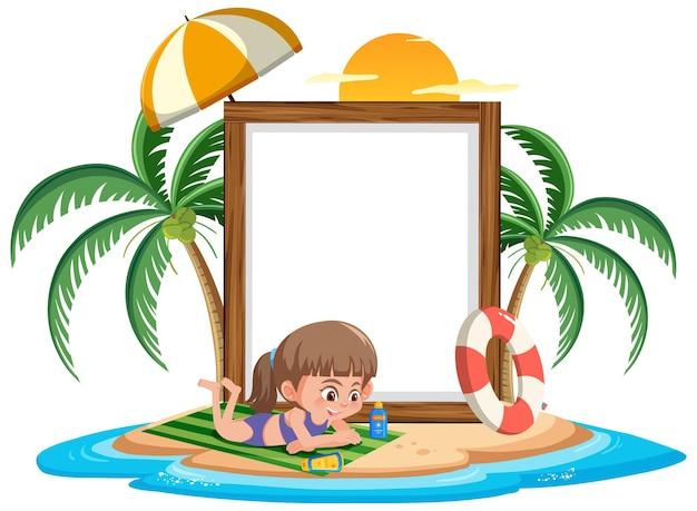 고립 된 해변에서 여름 휴가에 많은 아이들과 함께 빈 배너 템플릿