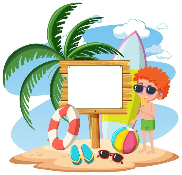 Пустой шаблон баннера со многими детьми на летних каникулах на пляже изолированы