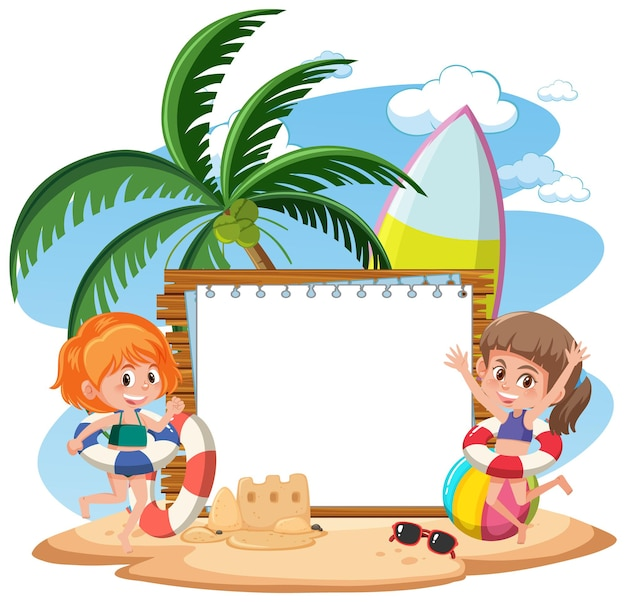 Blank banner template with many kids on summer vacation at the beach isolated