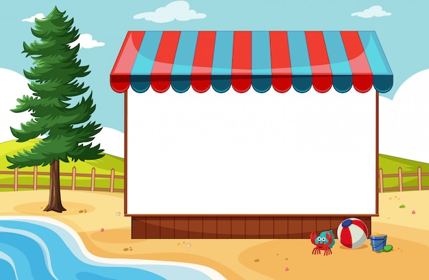 ビーチのシーンで日よけと白紙の横断幕