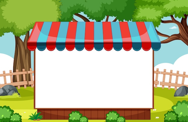 Blank banner with awning in nature park scene