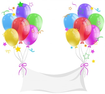 Blank banner with colorful balloons