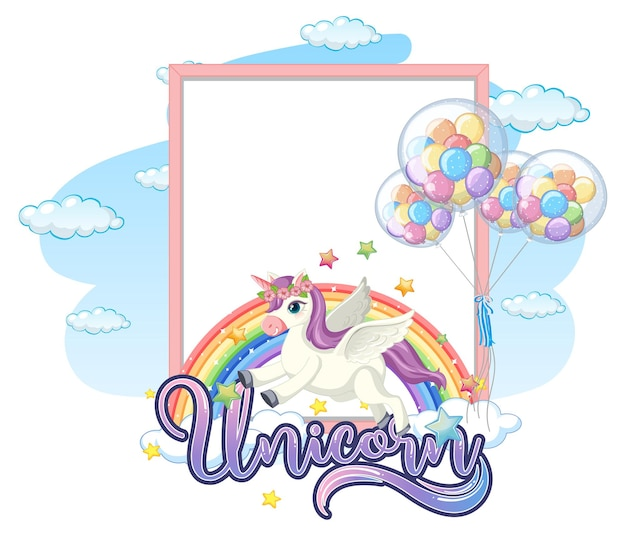 Blank banner with cute pegasus cartoon character isolated on white background