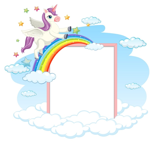 Blank banner with cute pegasus cartoon character isolated on white
