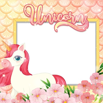 Blank banner with cute unicorn cartoon character