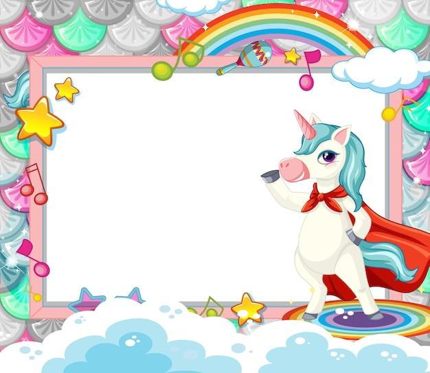 Blank banner with cute unicorn cartoon character